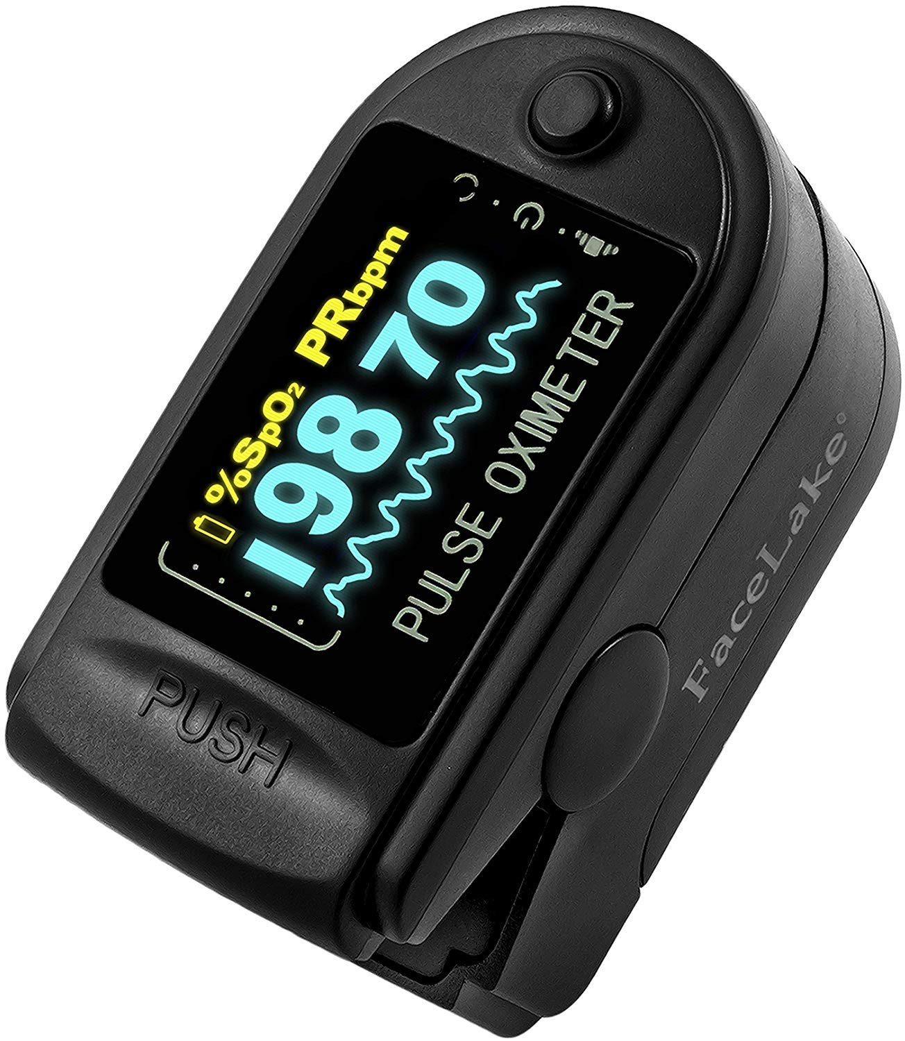 Facelake FL-350 Pulse Oximeter with Carrying Case Batteries Lanyard, Black