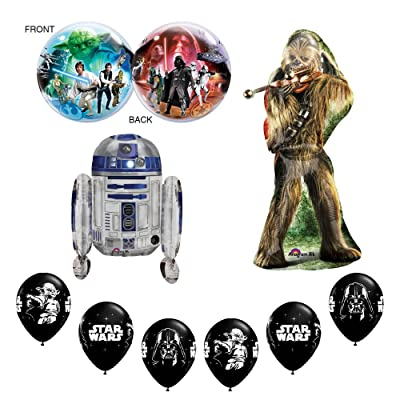 Anagram Star Wars Deluxe Happy Birthday Balloons Decoration Supplies Chewbaca R2D2 Chewy: Toys & Games