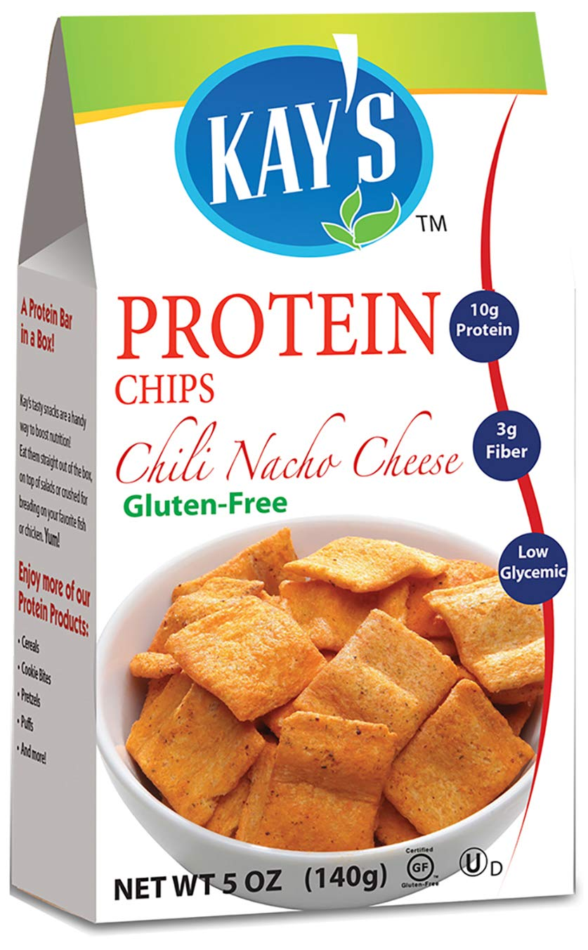 Kay's Naturals Protein Chips, Chili Nacho Cheese, Gluten-Free, Low Carbs, Low Fat, Diabetes Friendly All Natural Flavorings, 5 Ounce (Pack of 12)