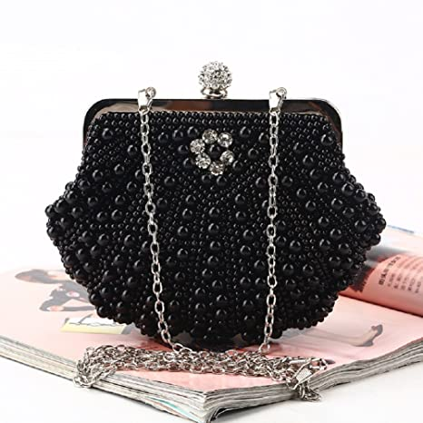 2d269466b0 H.Slay Bag Borsa Pochette Sacchetto Cerimonia Perline Perle Donne Eleganti  Sera Spalla Catena Per