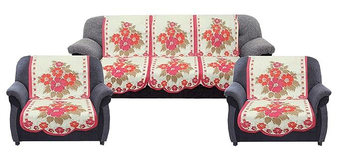 Kuber Industries Flower 6 Piece Cotton Sofa Cover Set - Cream