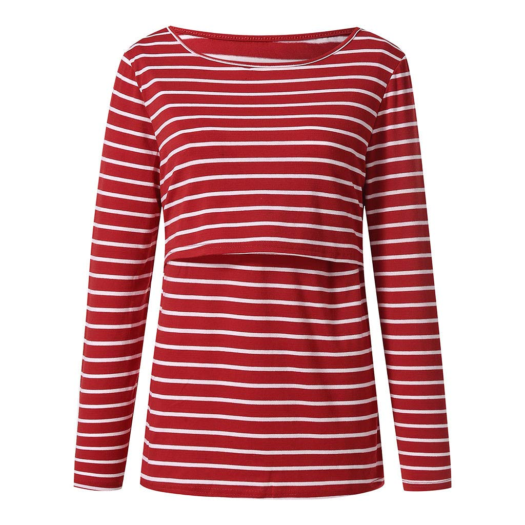 Zerototens Plus Size Pregnancy T Shirt Women Mother Long Sleeve Crewneck Blouse Tops Loose Double Layered Striped Maternity Pullover Tops Breastfeeding Nursing Tee,S-2XL
