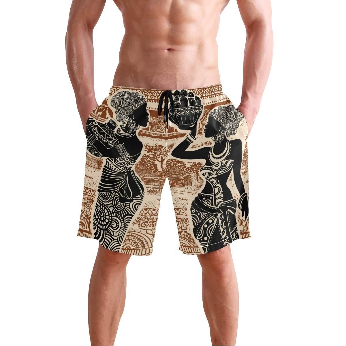 KUWT Mens Swim Trunks Tribal African Women Tree Quick Dry Beach Shorts Summer Surf Board Shorts