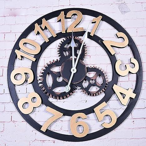 DHJKJ Reloj de pared retro personalizado reloj de pared creativo reloj de pared decoración del reloj de pared industrial mudo: Amazon.es: Deportes y aire libre