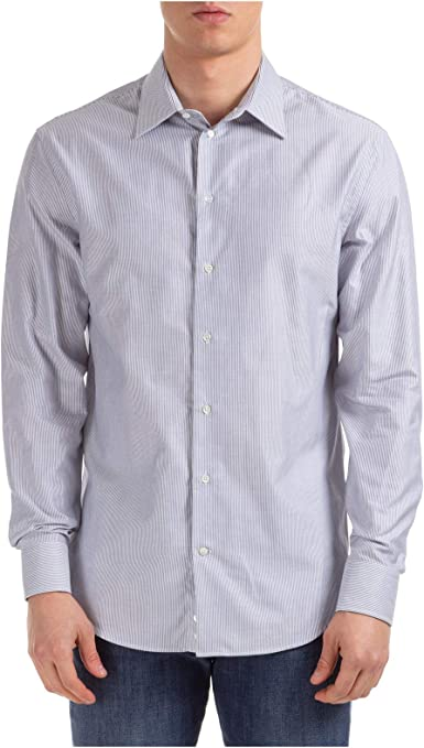 Emporio Armani Hombre Camisa Striped Blue 40 cm: Amazon.es: Ropa y accesorios