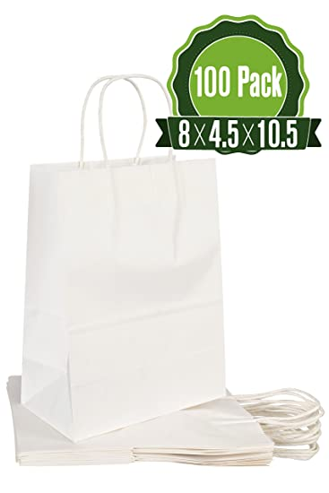 White Kraft Paper Gift Bags Bulk with Handles 8 X 4.5 X 10.5 [100Pc]. Ideal for Shopping, Packaging, Retail,...