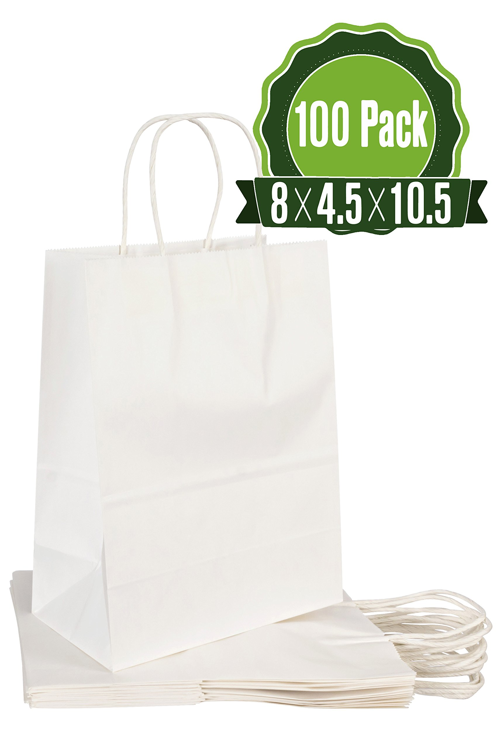White Kraft Paper Gift Bags with Handles, 100 Pcs 8x4.5x10.5 Shopping, Packaging, Retail, Party, Craft, Gifts, Wedding, Recycled Merchandise Bag