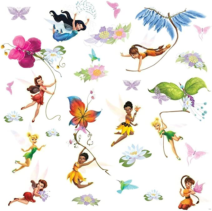 Fairy Wall Decal 3D Mural Hole in Wall Vinyl Sticker 3d Printing Broken Wall Removable  Z435 Fantasy Wall Art Tinkerbell 3d Wall Decor