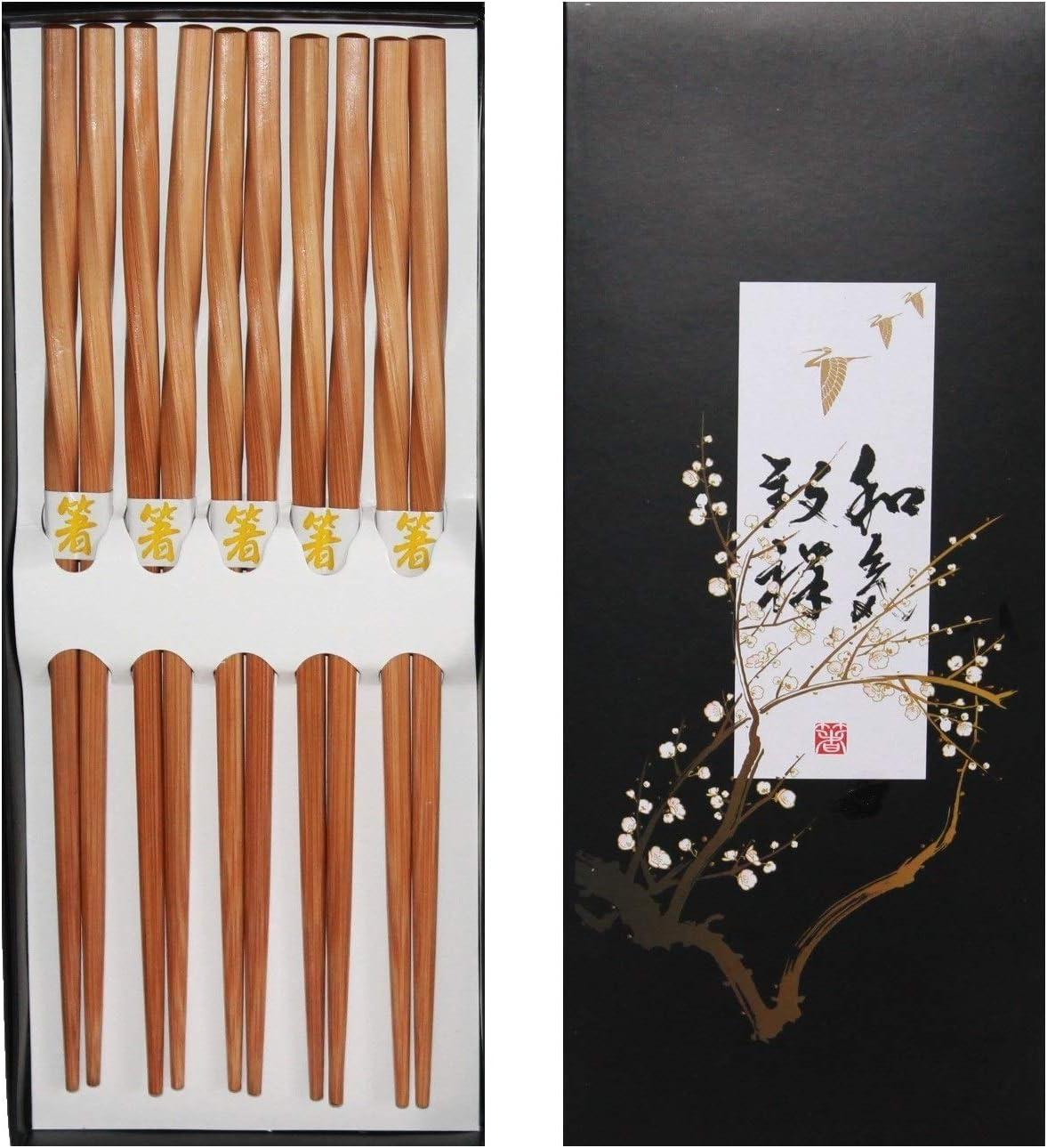 070 Chopsticks 5 Paar Stäbchen Eßstäbchen Bambus Holz twisted gedreht