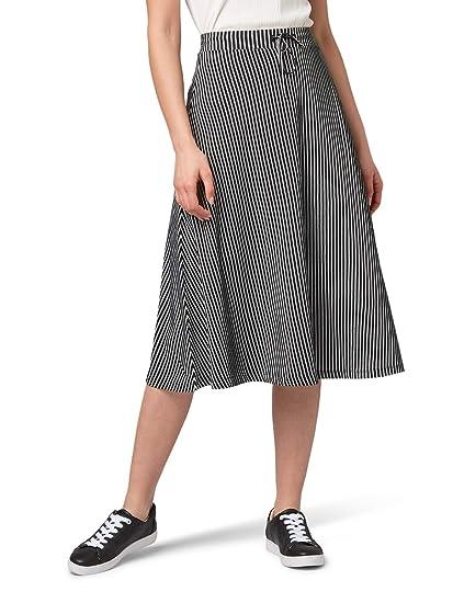Tom Tailor - Falda de Rayas para Mujer Black White Small Stripe 40 ...