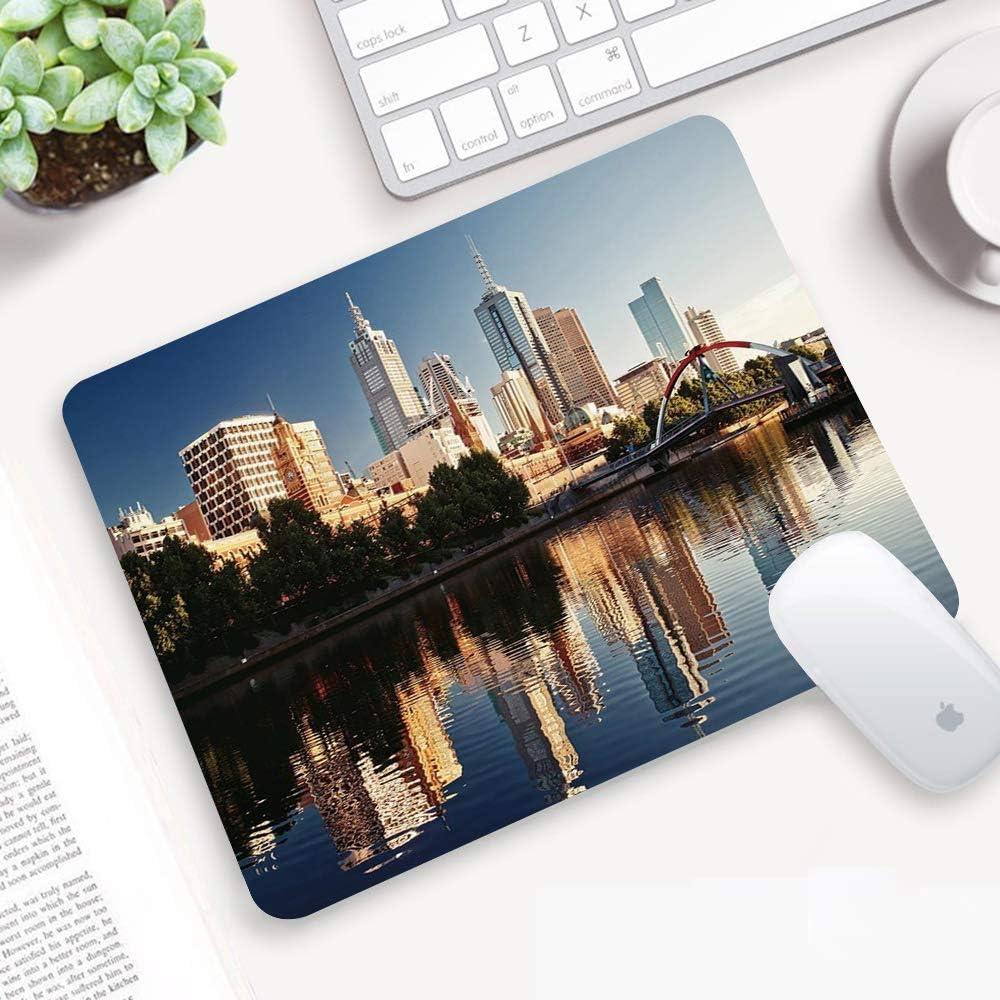 Alfombrilla para ratón 32x 25 cm,Ciudad, vista idílica del río Yarra Melbourne Australia Arquitectura Turismo, a,Goma Impermeable Cojín de Ratón Antideslizante Mousepad para Ordenador Portátil Oficina