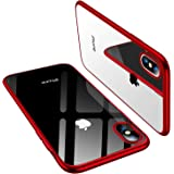 TORRAS iPhone Xs 専用ケース TPU/背面クリア+メッキ加工/Qi充電対応 薄型 耐衝撃カバー(レッド
