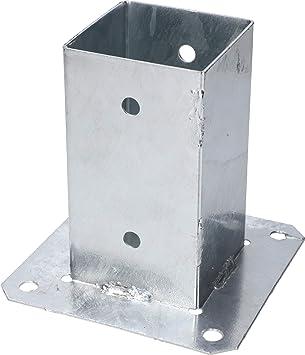 KOTARBAU® Soporte atornillable de 80 x 80 mm, postes de madera cuadrados, postes de suelo, soporte de valla, casquillo, galvanizado en caliente, placa ...