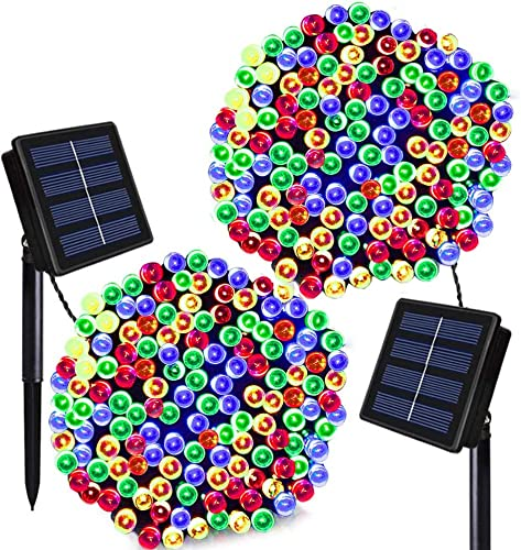 Solar Christmas Lights Solarmks 2 Pack Solar String Lights 72ft 200 LED 8 Modes Waterproof Solar Fairy String Lights for Outdoor, Gardens, Homes, Wedding, Christmas Party,Xmas Tree Multi-Color