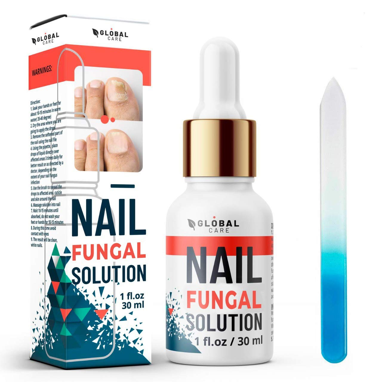 Premium Nail Care Solution by Global Care, Suitable for Finger and Toe nail | Contains Argan Oil and Tea Tree Oil | 30ml | Free nail file and nail brush.