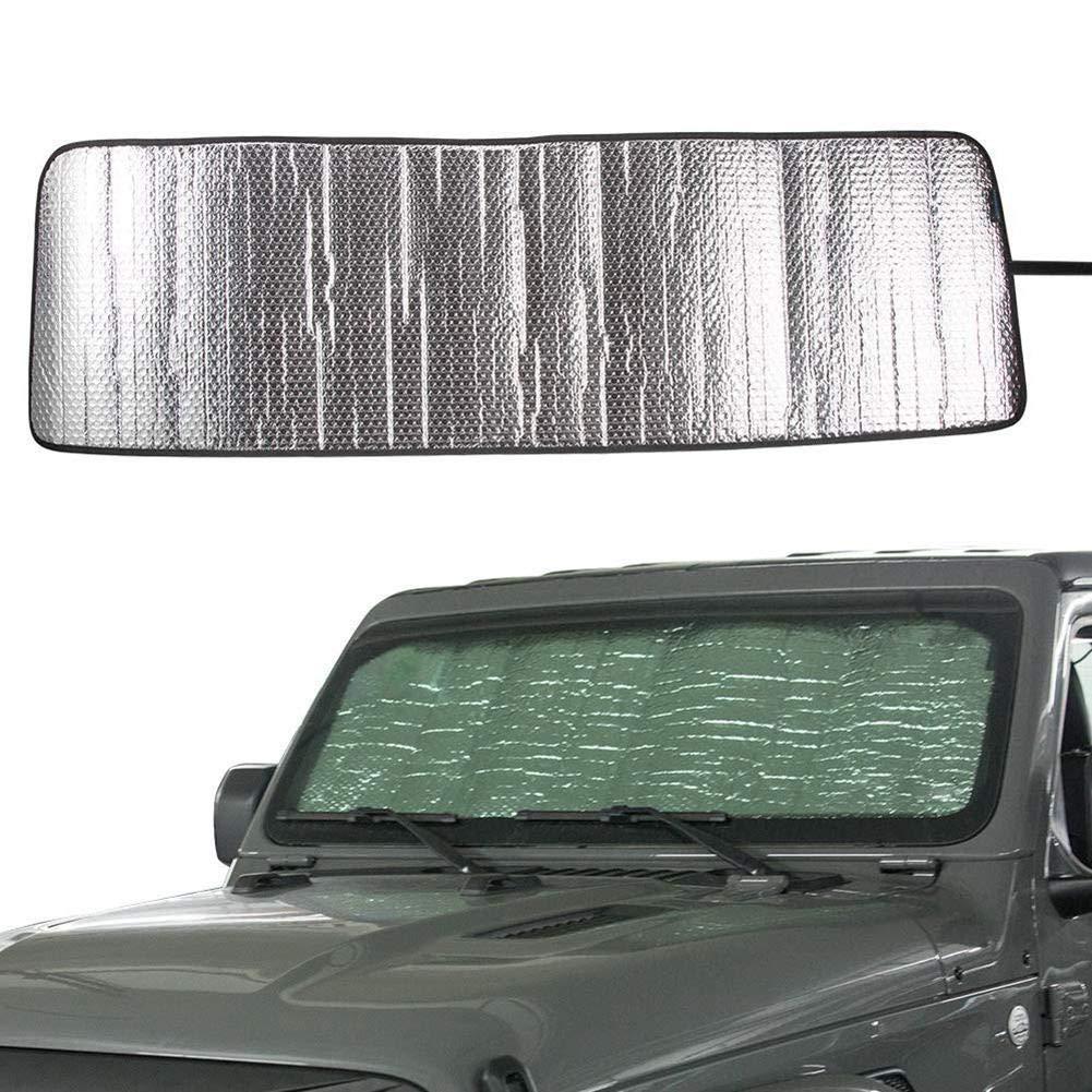 2 Porte e 4 Porte Parasole Rubicon Sahara Parabrezza per Jeep Wrangler JL JLU 2018 2019 evergreemi Parasole Anteriore Parasole Parasole Termico in Alluminio Foglio Visiera stuoia