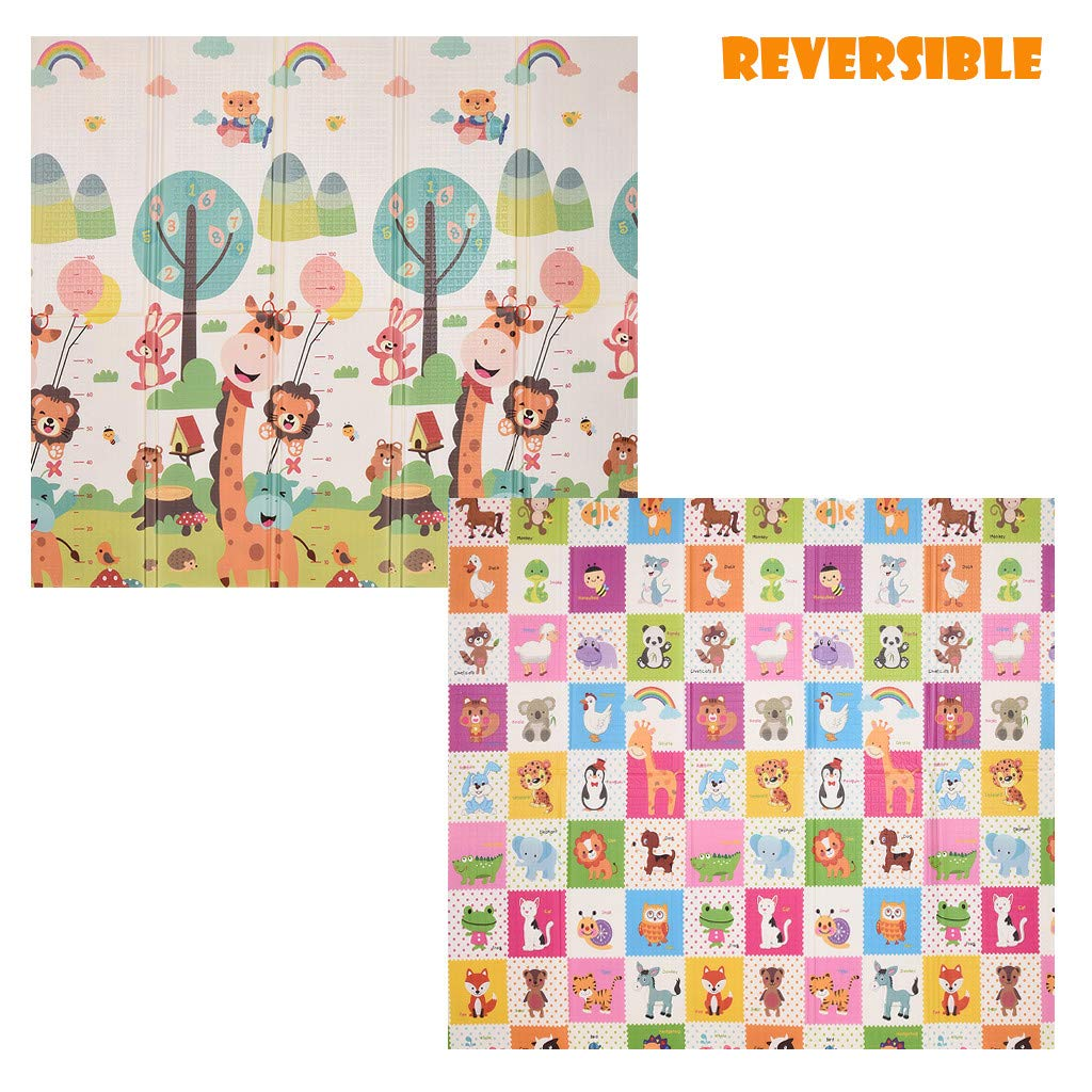 Folding Baby Game Mat - Reversible Portable Foam Toy Crawling Waterproof Child Baby Child Outdoor or Indoor Use 6.56x5.90x0.049 Ft by TKI-S