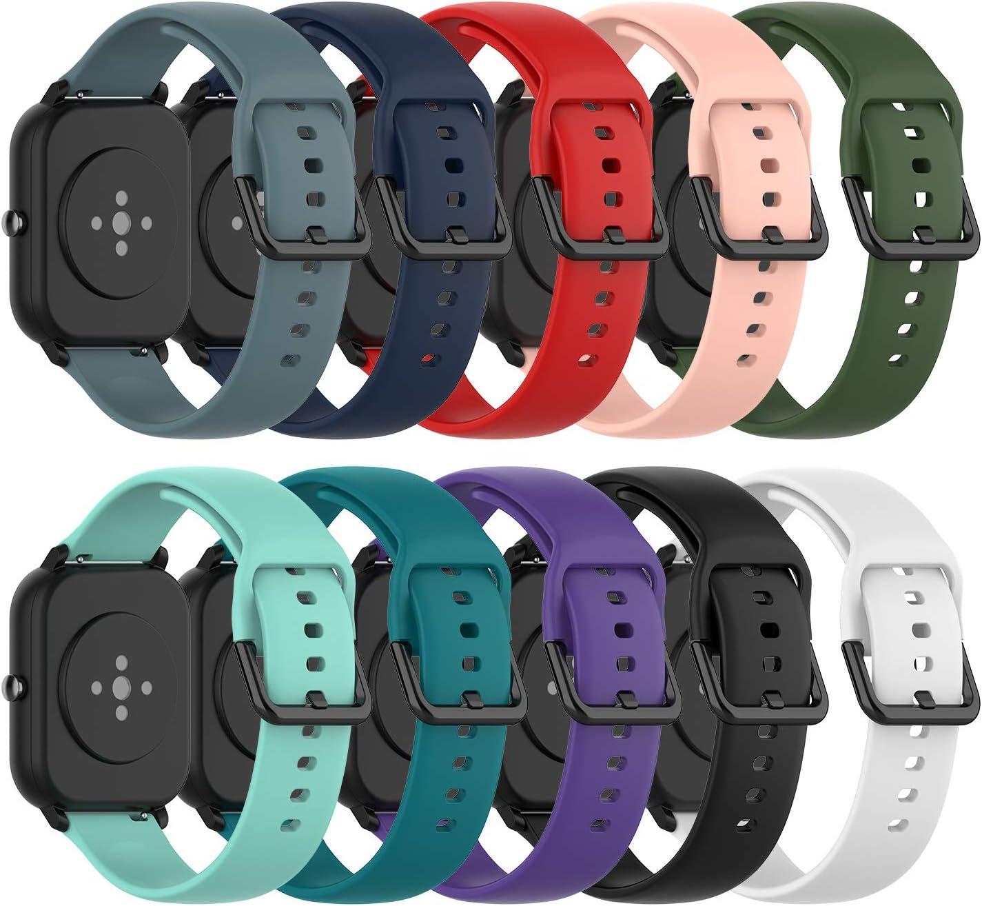 Ruentech - Correa de Silicona Compatible con Amazfit GTS/Amazfit Bip/Amazfit GTR 42mm Correa Band (Small, 10 Colores)