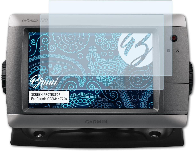 Bruni Película Protectora para Garmin GPSMap 720s Protector Película, Claro Lámina Protectora (2X)