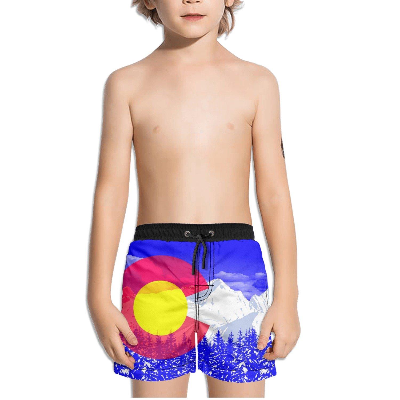 FullBo Colorado Flag and Mountains Little Boys Short Swim Trunks Quick Dry Beach Shorts