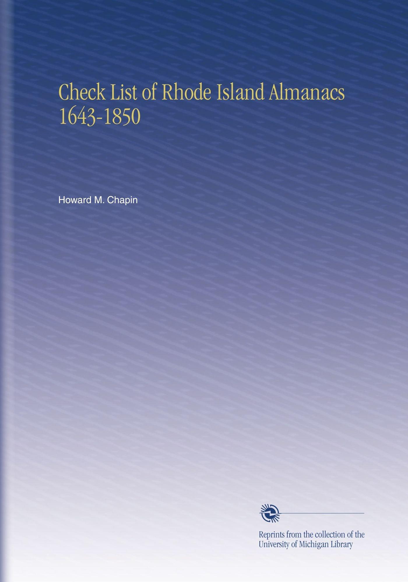 Check List of Rhode Island Almanacs 1643-1850 ePub fb2 book