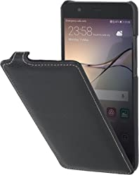 StilGut UltraSlim Case, Custodia Flip Case in Vera Pelle per Huawei P10 Plus, Nero