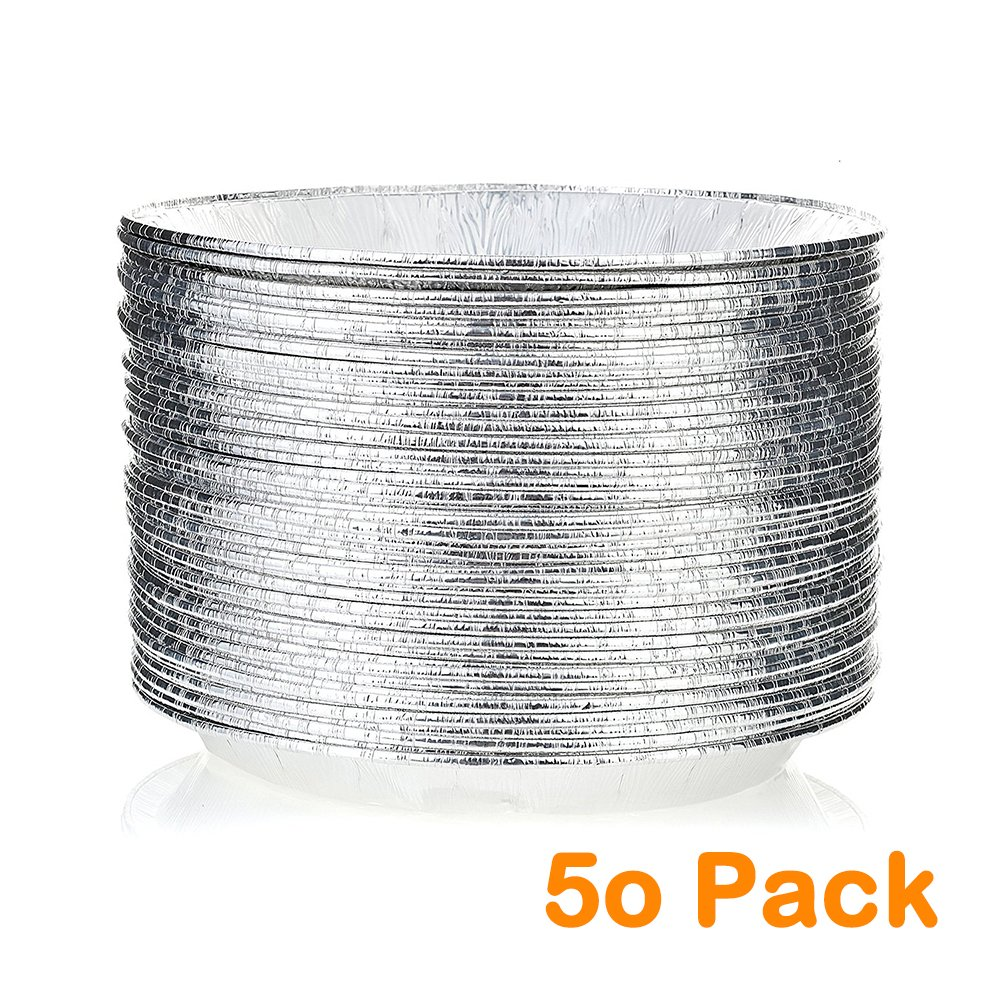 9'' Round Pie Pans (50 Pack) Disposable Aluminum Foil Pie Plates with Board lid, Standard Size, 9'' x 1.25'' by Orangehome (Image #1)