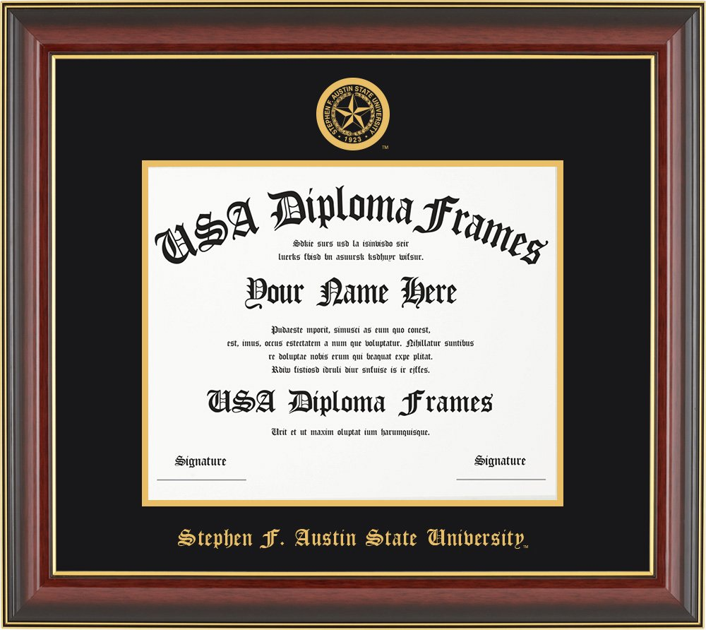 Stephen F. Austin University Diploma Frame - Cherry Mahogany with Black Suede Mat