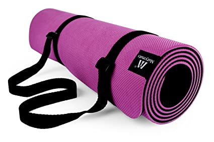 Matymats Yoga Mat Antideslizante Super Alta Densidad 100% TPE con Correa 6 mm de Grosor 6 ft Largo Pilates Ejercicio Alfombrillas
