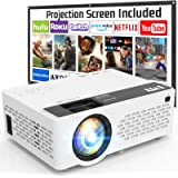 T M Y Projector 6500 Lumen with 100 Inch Projector Screen, 1080P Full HD Supported Video Projector, Mini Movie Projector Comp