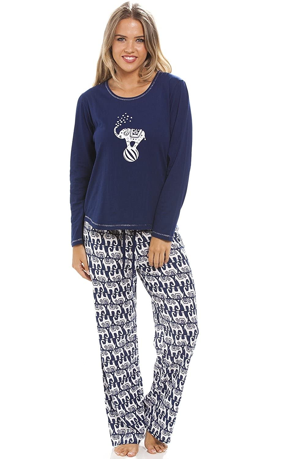 bfc9f19aaf30d Camille Womens Ladies Full Length Long Sleeve Elephant Motif Navy Blue  Pyjama Set 14 16 Blue at Amazon Women s Clothing store