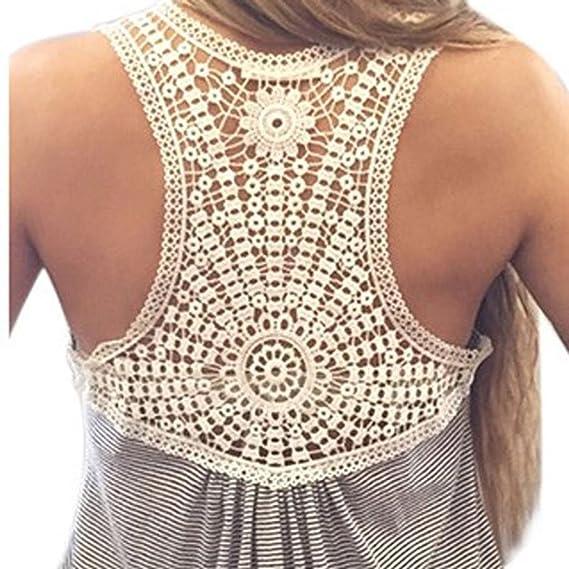 ee74202b9a53 cooshional Tops Frau Shirt Spitze Patchwork Damen t shirt O-Ausschnitt  Armlos Gestreif Sommer, Grau, Gr. L  Amazon.de  Bekleidung