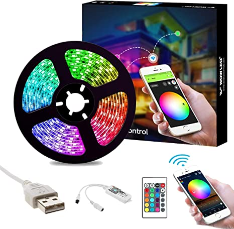 2m USB RGB Smart WiFi Strip Light TV Backlight Work with Alexa Google Home Party
