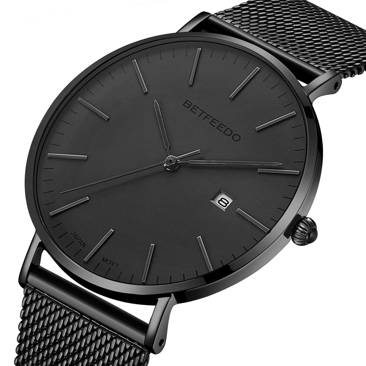 BETFEEDO Men's Wrist Watch, Black Fashion Date Slim Analog Quartz Watches with Stainless Steel Mesh Band (Black/Gray)