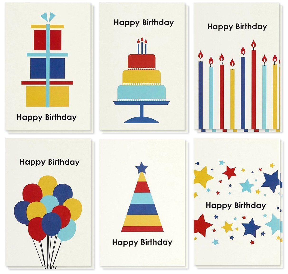 Birthday Card - 48-Pack Birthday Cards Box Set, Wood Happy Birthday Cards - Assorted Party Designs Birthday Card Bulk, Kraft Paper Envelopes Included, 4 x 6 inches