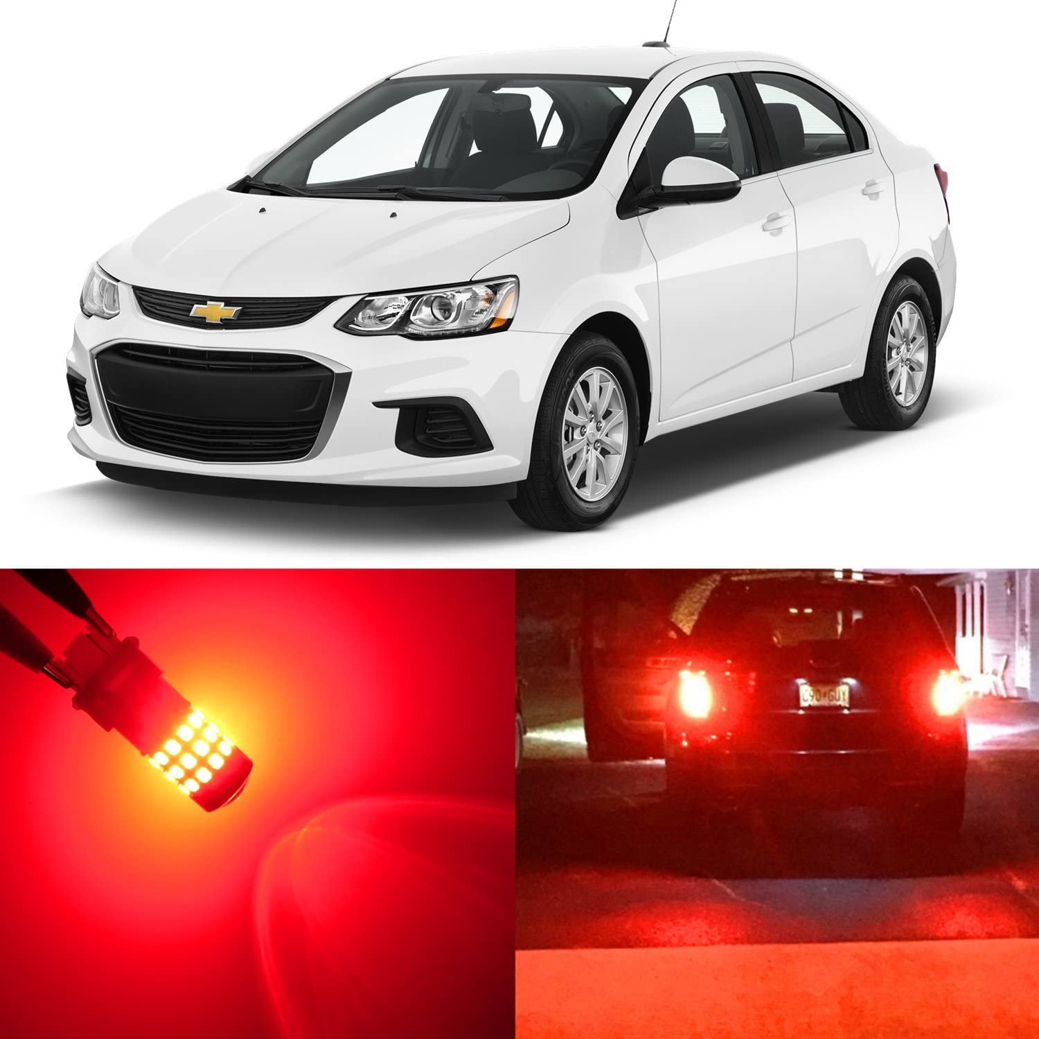 Alla Lighting 2pcs Super Bright Pure Red 7443 7443LL 7444LL LED Light Bulbs Rear Brake Stop Tail Light Lamps Replacement for 2012~2017 Sonic