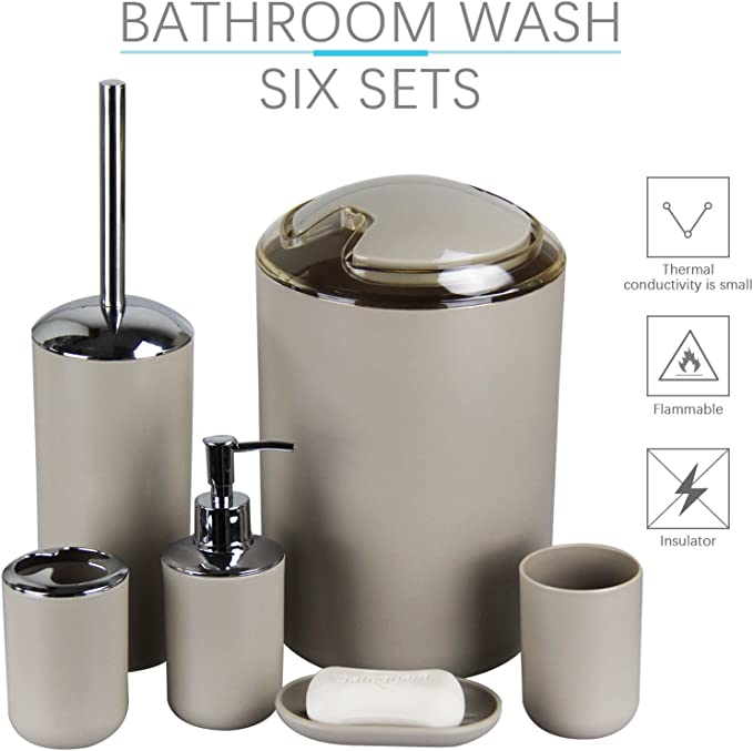 Imavo Bathroom Accessories Set 6 Pcs Plastic Gift Set Toothbrush Holder Toothbrush Cup Soap Dispenser Soap Dish Toilet Brush Holder Trash Can Tumbler Straw Set Bathroom Apricot Amazon Co Uk Kitchen Home