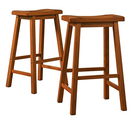 Miraculous Modhaus Living Set Of 2 Honey Oak Country Style Saddle Back Solid Wood Bar Stool Bar Height Includes Tm Pen Caraccident5 Cool Chair Designs And Ideas Caraccident5Info