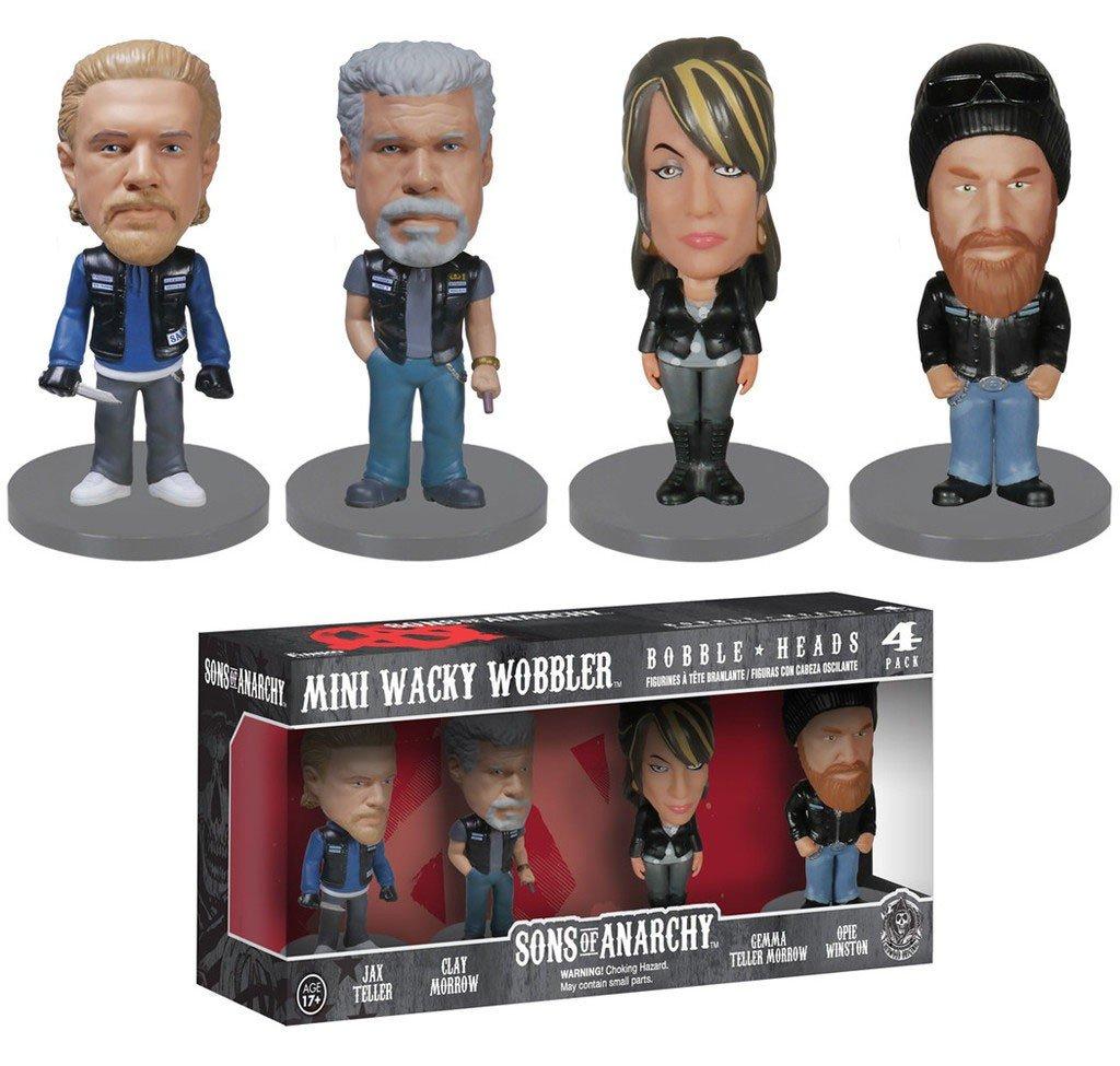 Sons of Anarchy Mini Wacky Wobbler Bobble Heads 4-pack (Jax Teller, Clay Morrow, Gemma Teller Morrow, Opie Winston) Funko