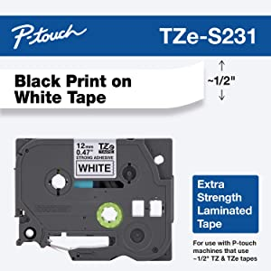 """Brother Genuine P-touch TZE-S231 Label Tape, 1/2"""" (0.47"""") Extra Strength Adhesive Laminated P-touch Tape, Black on White, Laminated for Indoor or Outdoor Use, Water Resistant, 26.2 Feet (8M), Single-Pack"""