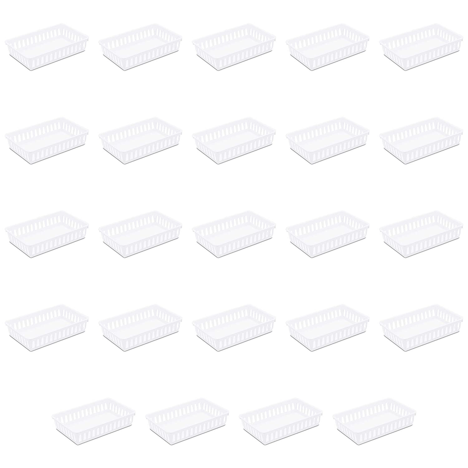 Sterilite 16068024 Storage Tray, White, 24-Pack