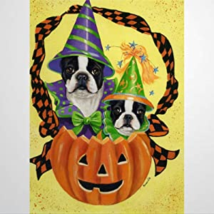 BYRON HOYLE Boston Terrier Halloween Garden Flag Decorative Holiday Seasonal Outdoor Weather Resistant Double Sided Print Farmhouse Flag Yard Patio Lawn Garden Decoration 12 x 18 Inch113337
