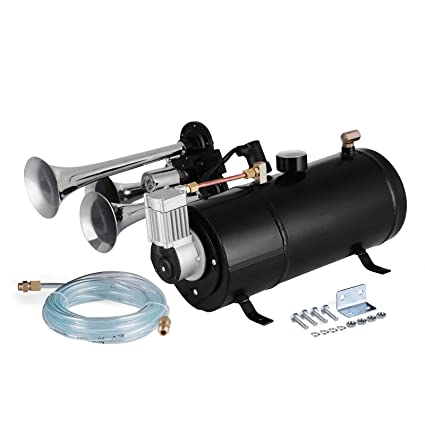 Air Horn Compressor >> Mosaical 4 Trumpet Train Horn Compressor 12v Air Horn Kit 4 Horns Air Horn Compressor Tank Capacity 3 Liters Train Horns Kit For Truck Car Boat 12v
