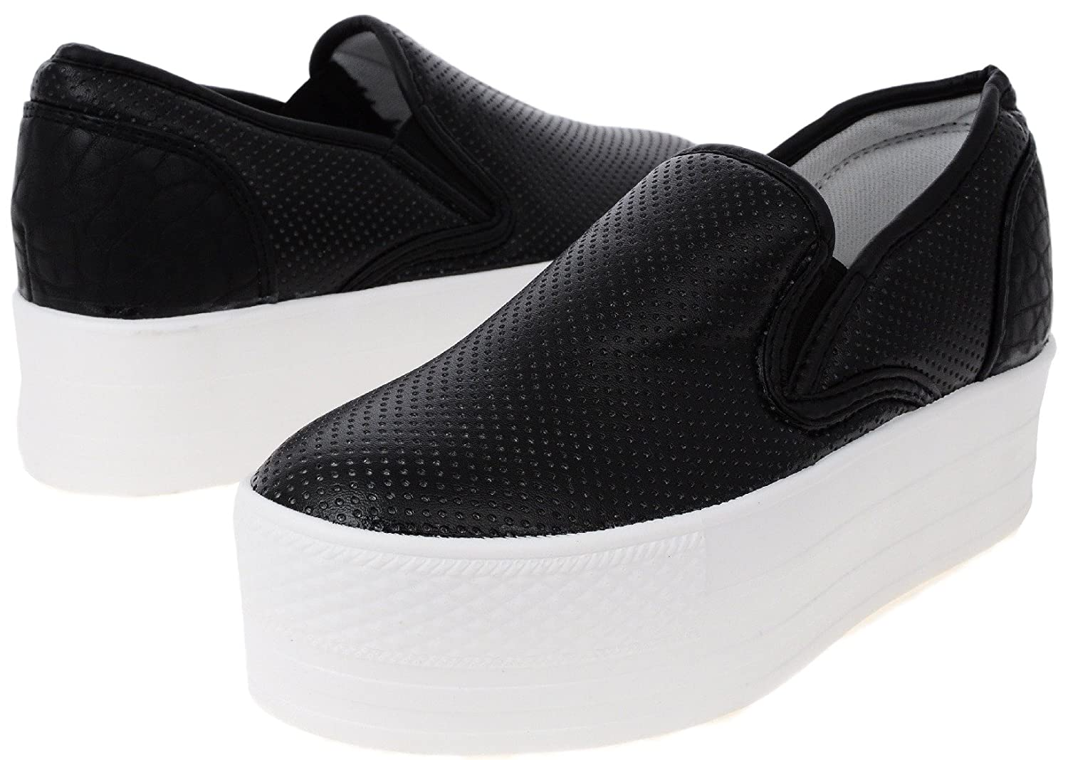 0460daee0cad2 Maxstar C7 50 Punched Synthetic Leather White Platform Slip on Sneakers
