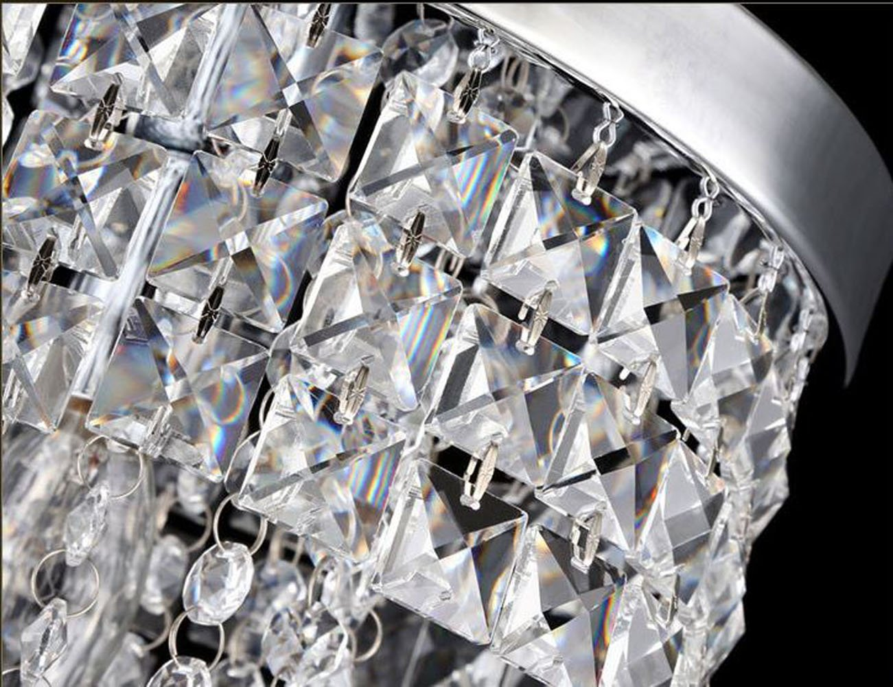 Surpars House Flush Mount 1-Light Crystal Chandelier Silver Pendant Light by Surpars House (Image #1)