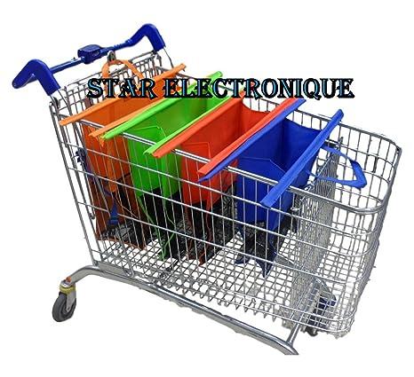 Star Electronic - Juego de 4 bolsas de la compra, para carro de supermercado, reutilizables, alta resistencia