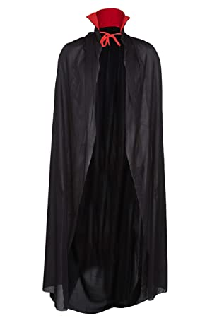 DELUXE LONG BLACK VAMPIRE DRACULA CAPE WITH RED COLLAR 51 quot  HALLOWEEN  FANCY DRESS COSTUME 94ad1c3c46144