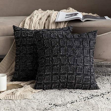 MIULEE Pack de 2 Unidades Cuadrado Funda de Borla Cojine Fundas Almohada del Sofá Throw Cojín Decoración Caso de la Cubierta Decorativo Almohadas para Sala de Estar 45x45cm Negro y Blanco: Amazon.es: