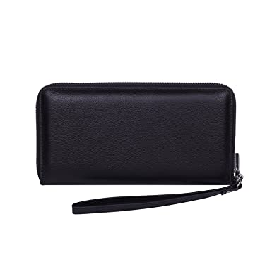 9caee56a58c5 Women RFID Blocking Wallet Genuine Leather Zip Around Clutch Ladies Purse  Wristlet