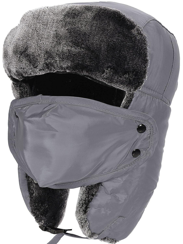 Aidonger Unisex Uomo Donna Cappelli Aviatore con Maschera Smontabile per Autunno Inverno Sci Cappuccio YW01-BL-D2